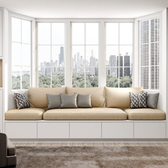 Fitted Bay Window Seating Storage Solution in Glacier White