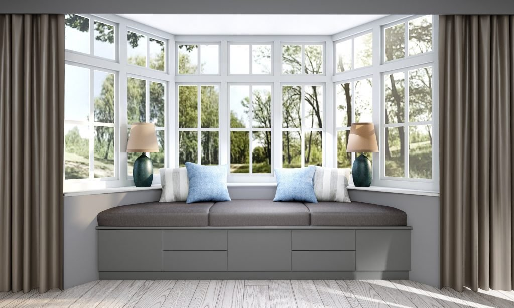 Fitted Bay Window Seating Storage Solution in Dust Grey Finish