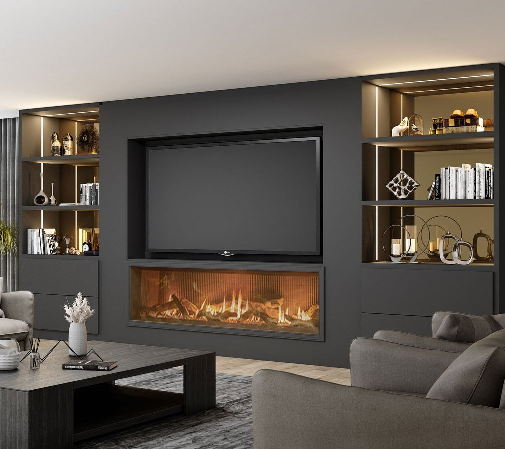 Matt Black Bespoke Fitted TV unit with storage and fireplace finished in Black Matt and Tinted Bronze glass