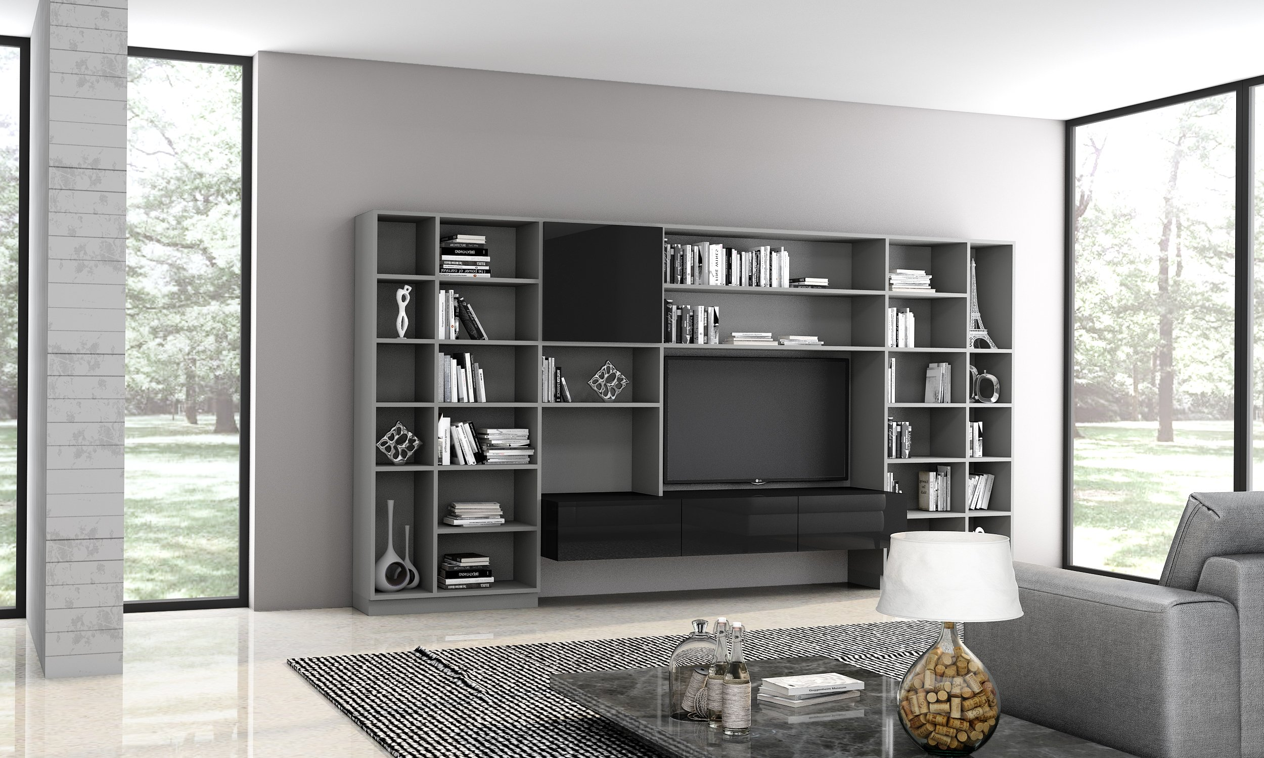 Bespoke Library Area With Living Room Tv Section in Dark Grey Finish and Black Gloss Finish