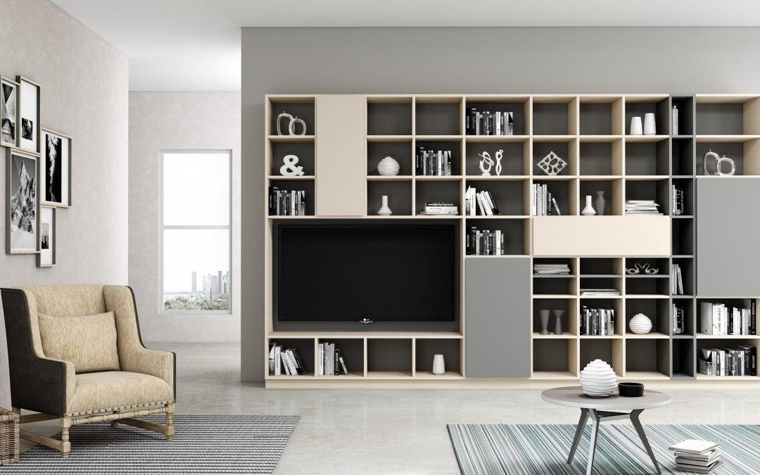 Bespoke TV storage with Book shelf in cashmere light finish