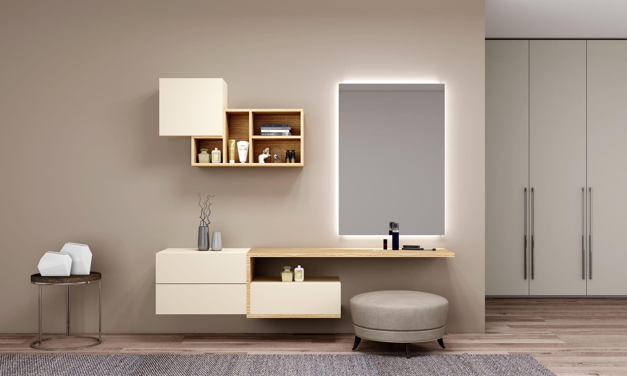 Bespoke dressing table with custom Storage in Creama beige finish