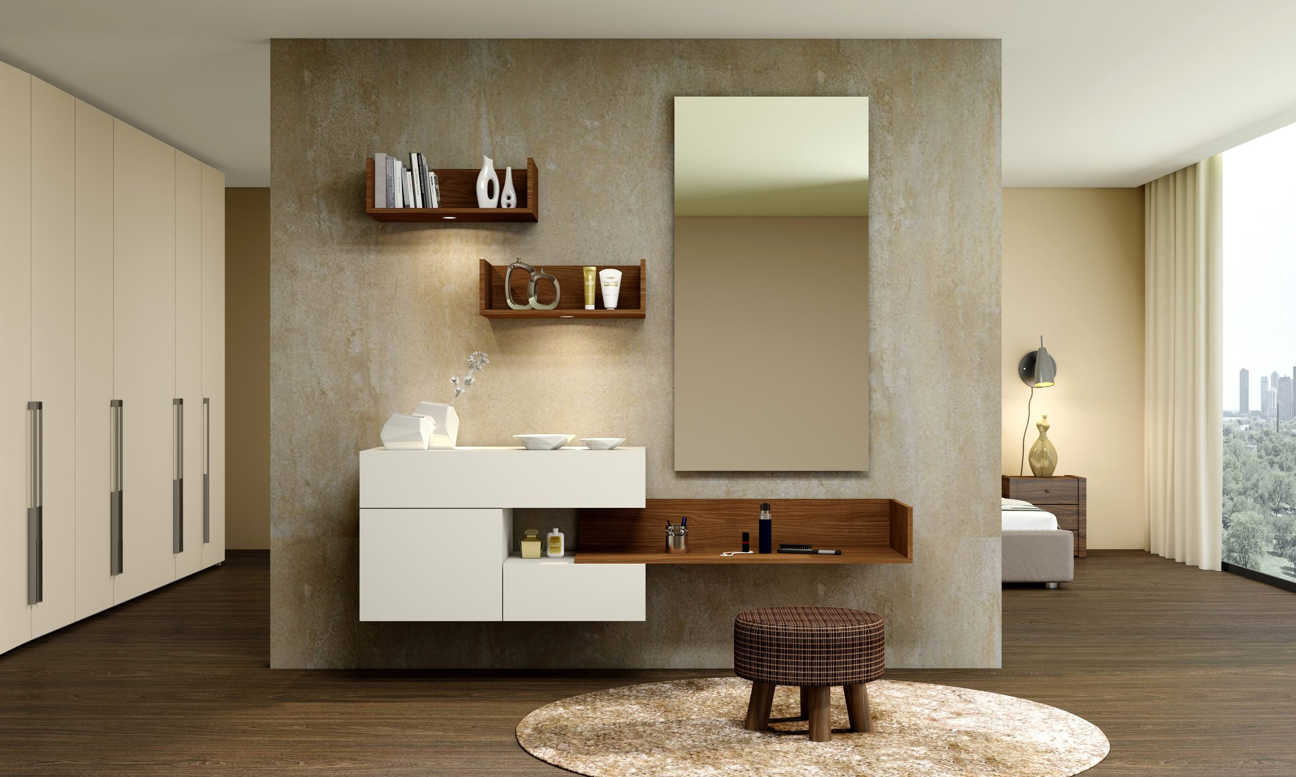 Bespoke dressing table with custom Storage in Light grey and Lincoln walnut finish