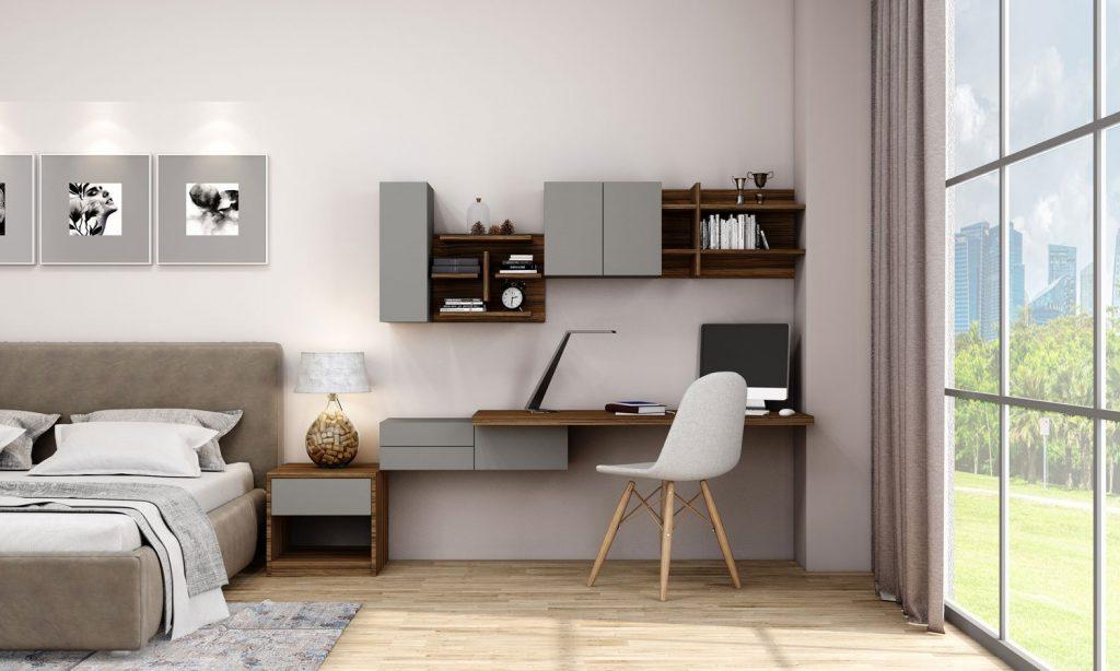 Desk & bookshelf Unit Storage in Dust Grey and Dark Iberian Olive