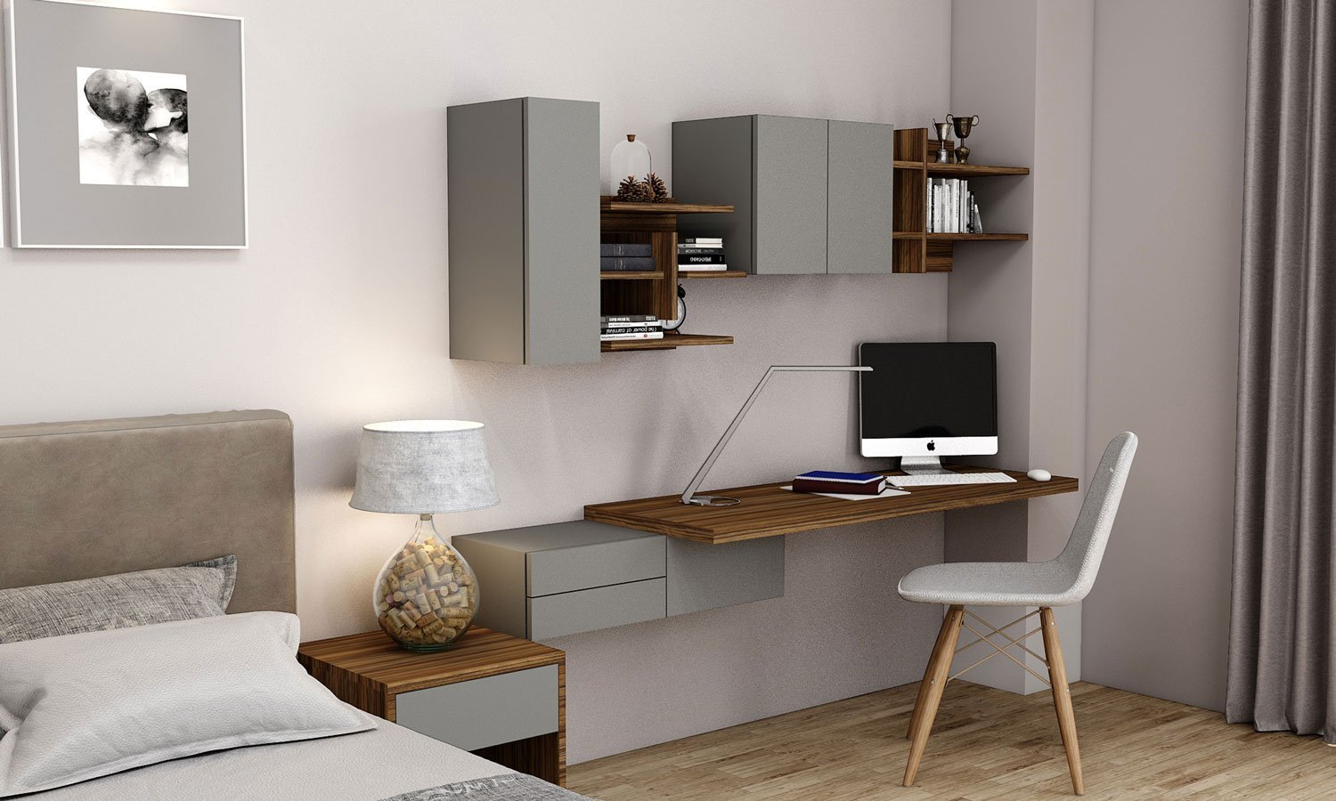 Desk and Home Study Unit Storage in Dust Grey and Dark Iberian Olive