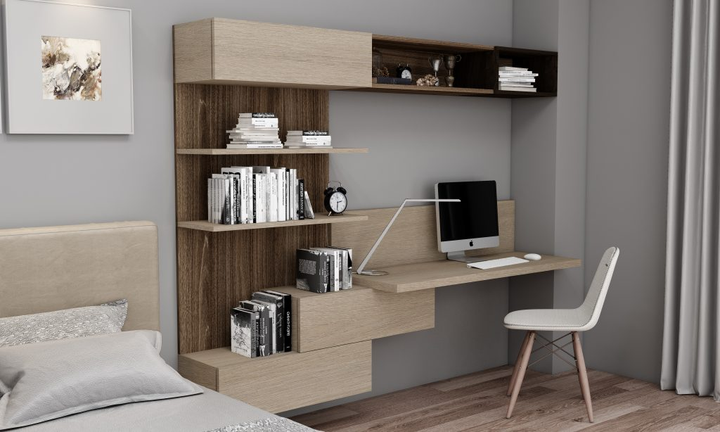 Desk and Study Unit Storage In combination of Beige Grey Lorenzo Oak and Canadian Maple