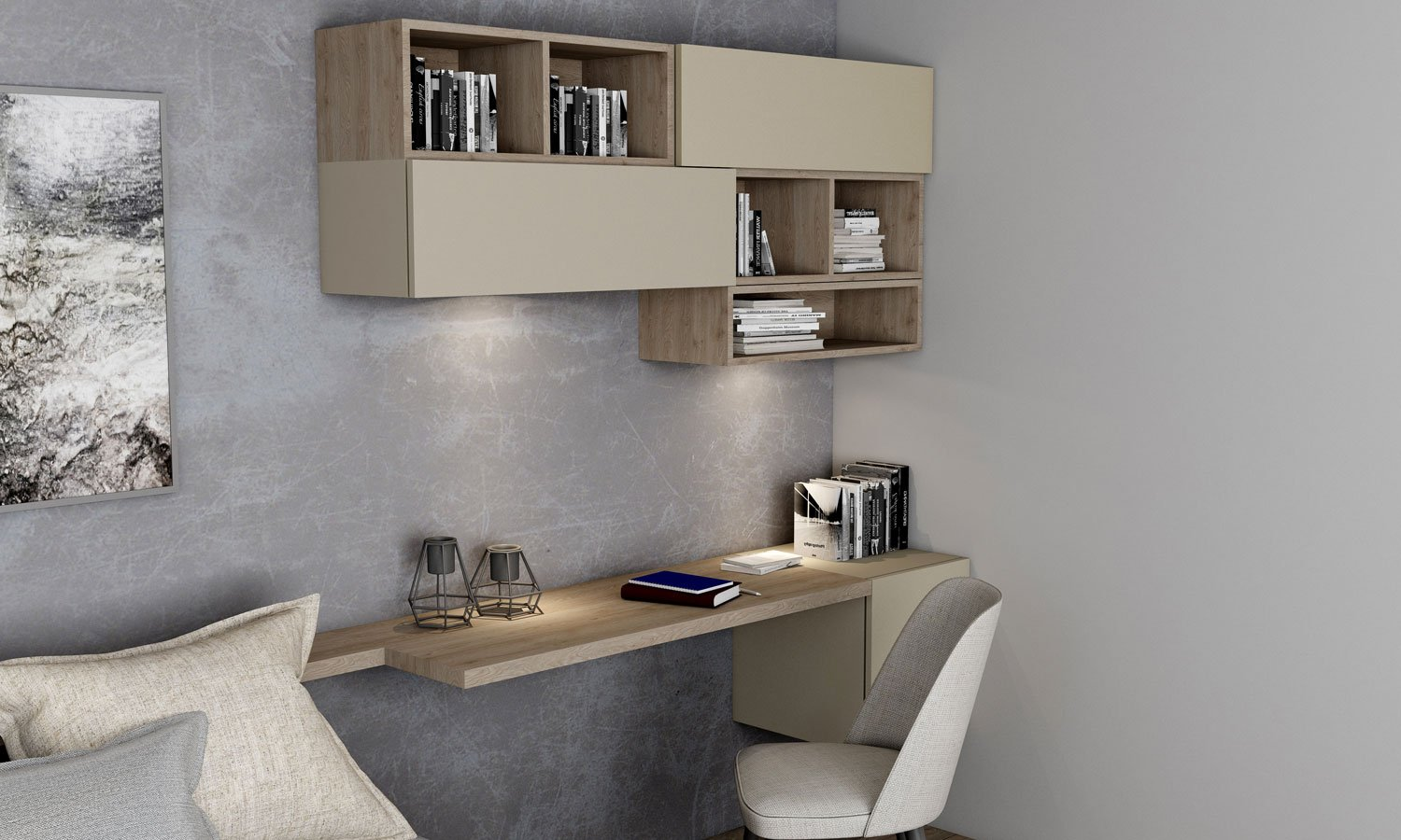 Desk & Study Unit Storage in Combination of Pebble grey and Cleaf Pembroke