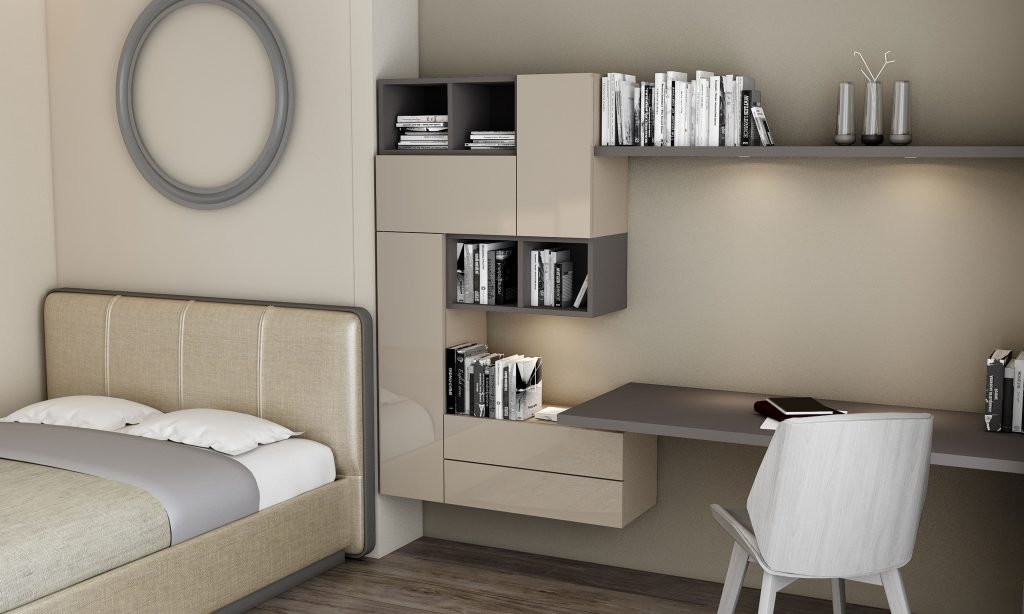 Desk and Study Unit Storage in Combination of Stone Grey and Onyx Grey