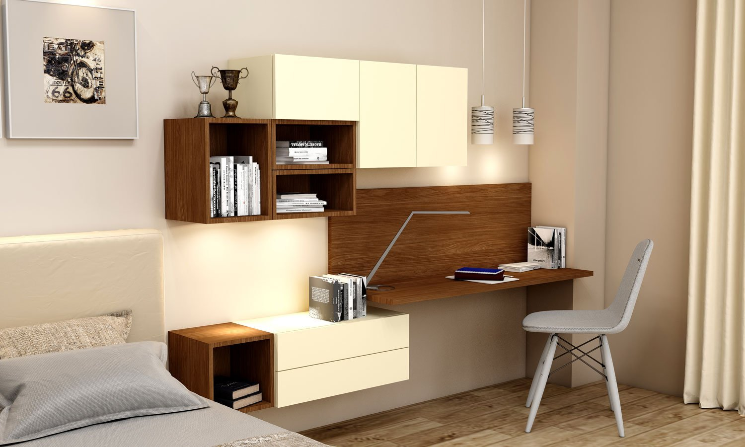 Desk and Study bookshelves Unit Storage in Vanilla Yellow and Lincoln Walnut