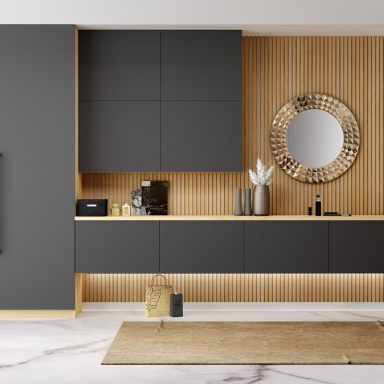 Dressing Table With Floating Drawers With Wardrobe in Graphite Matt and Light Oak Finish