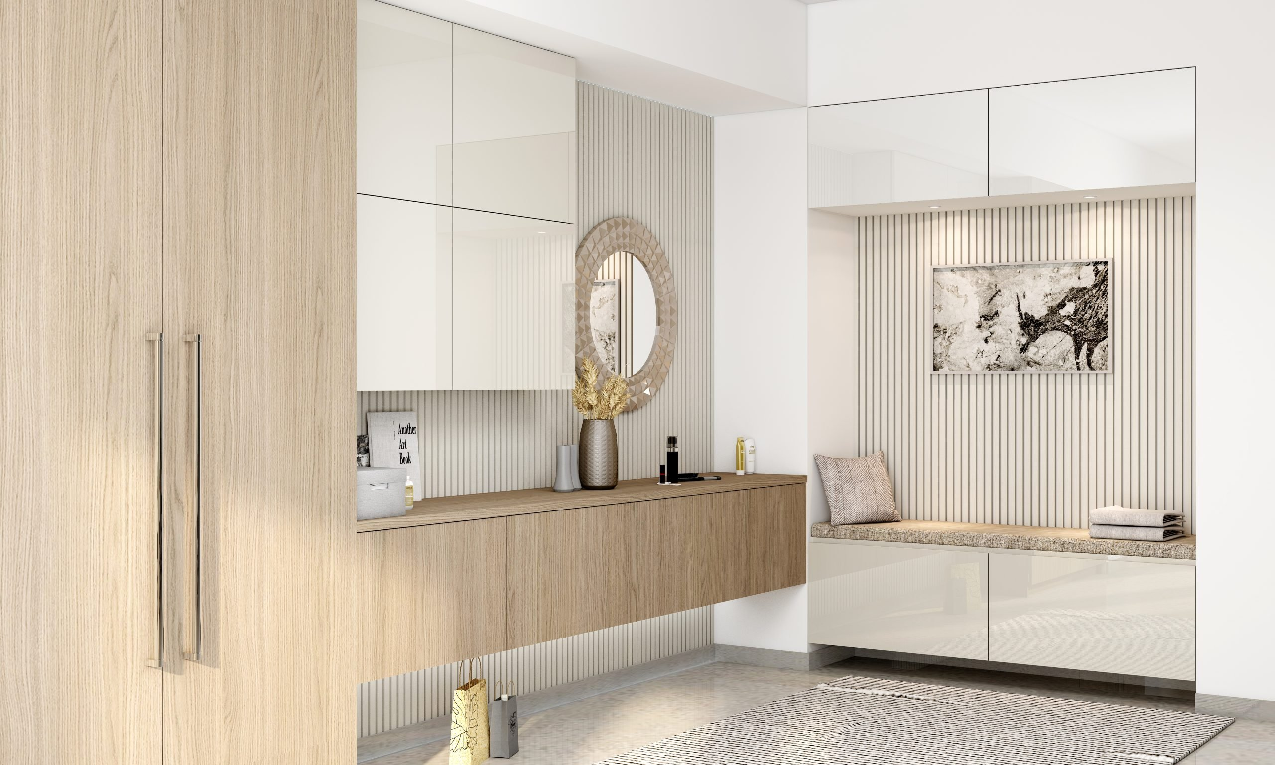 Dressing table with floating drawers with wardrobe in Verade oak light and white gloss finish