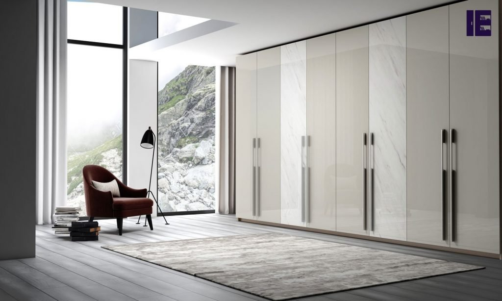 Fitted Hinged Wardrobe With Long Handle in Light Grey Gloss and White Gloss Levanto Stone Finish