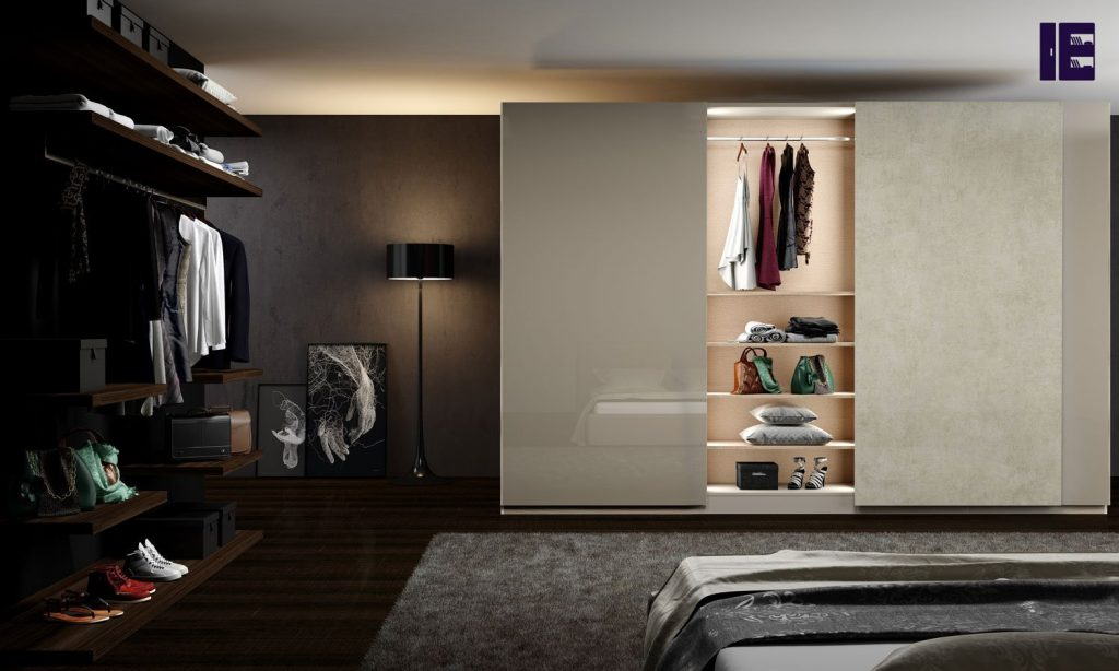 Fitted Sliding Wardrobe With Frameless Top Hung Doors in Combination of Clear Ares and Ivory