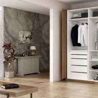 Fitted Wardrobe With Pocket Door System in Walnut Wood Finish