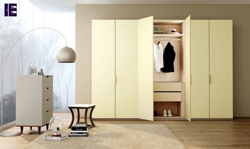 Hinged Fitted Wardrobe Alabster White Cream Finish
