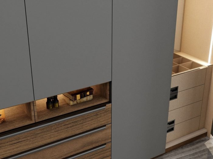 https://www.inspiredelements.co.uk/wp-content/uploads/2021/06/HInged-Fitted-wardrobe-with-chest-drawers-in-perfect-matt-dust-grey-and-antique-brown-woodgrain-finish-2-1-1-700x524.jpg