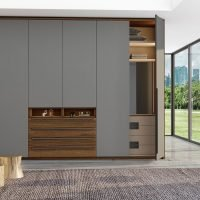 Hinged Fitted Wardrobe With Chest Drawers in Perfect Matt Dust Grey and Antique Brown Woodgrain Finish
