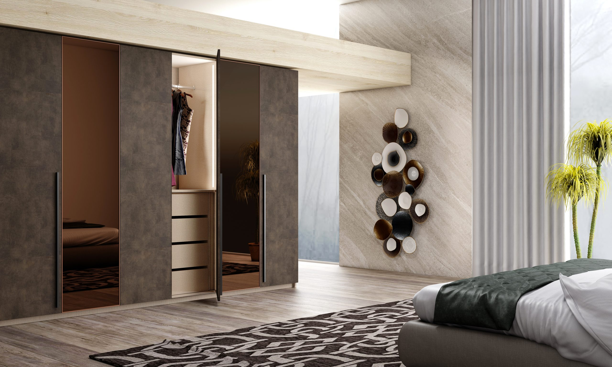 Hinged Fitted Wardrobe with full bronze mirror in Maya Bronze finish