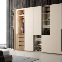 Hinged Fitted Wardrobe With Open Shelves in Cashmere Grey and Silver Grey Finish