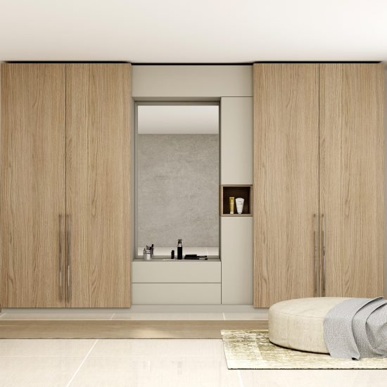 Hinged Wardrobe with Dresser Unit Storage in combination of Grey Vicenza Oak and Aluminium