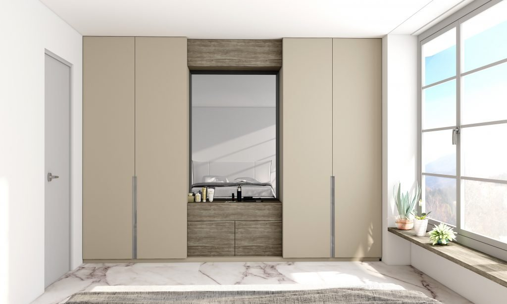 Hinged Wardrobe with Dresser Unit Storage in combination of Pebble grey and Cleaf Engadina