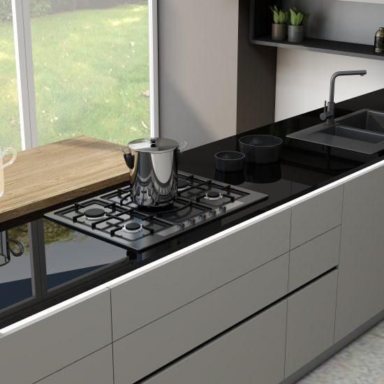 Kitchen Worktop Glass Black