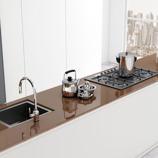 Kitchen worktop glass brown - 1