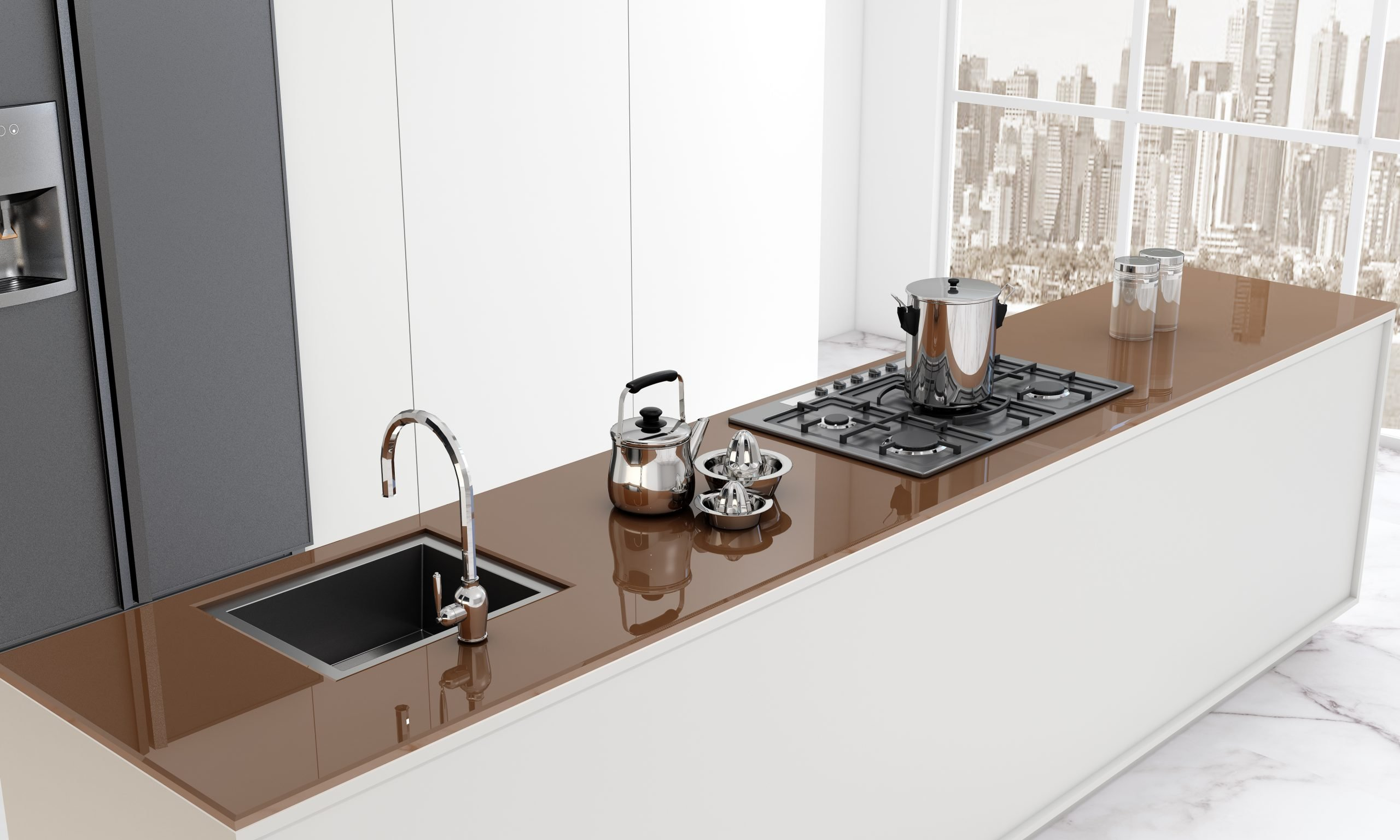 Kitchen Worktop Glass Brown