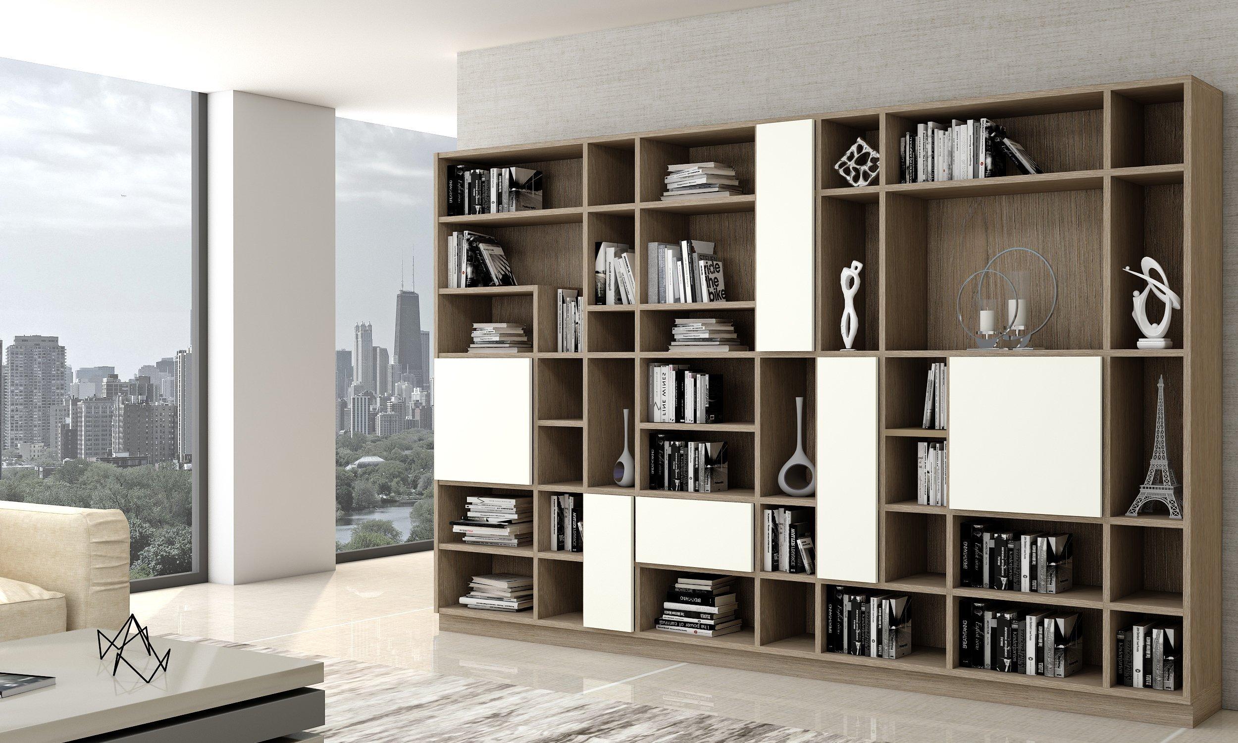 Library bookshelf living room cabinet with Woodgrain finish (1)
