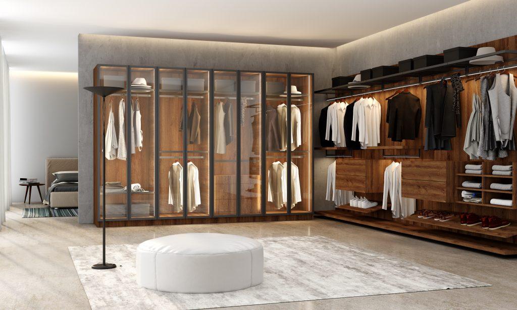 Linear glass and linear wood wardrobe range in wood grain walnut finish