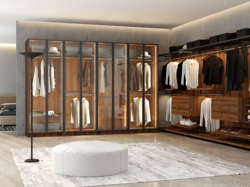 Linear Glass and Wood Walk-in Wardrobe