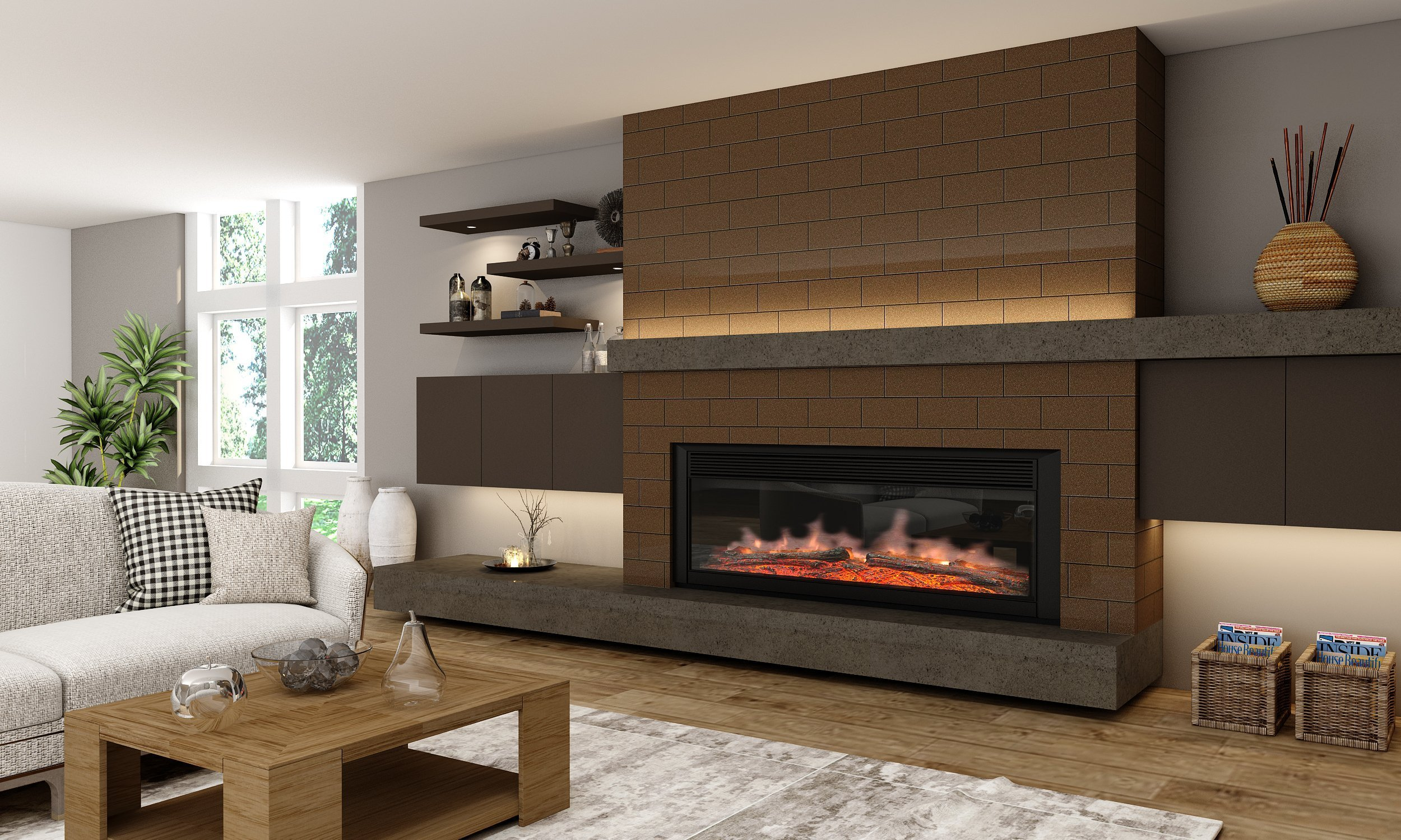 Gloss Living Room Alcove Design With Floating Shelves in Onyx Grey Finish