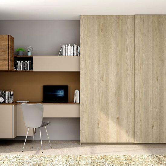 Sliding Wardrobe With Study Desk Unit in Stone Grey and Antique Brown Borneo and Grey Odessa Oak