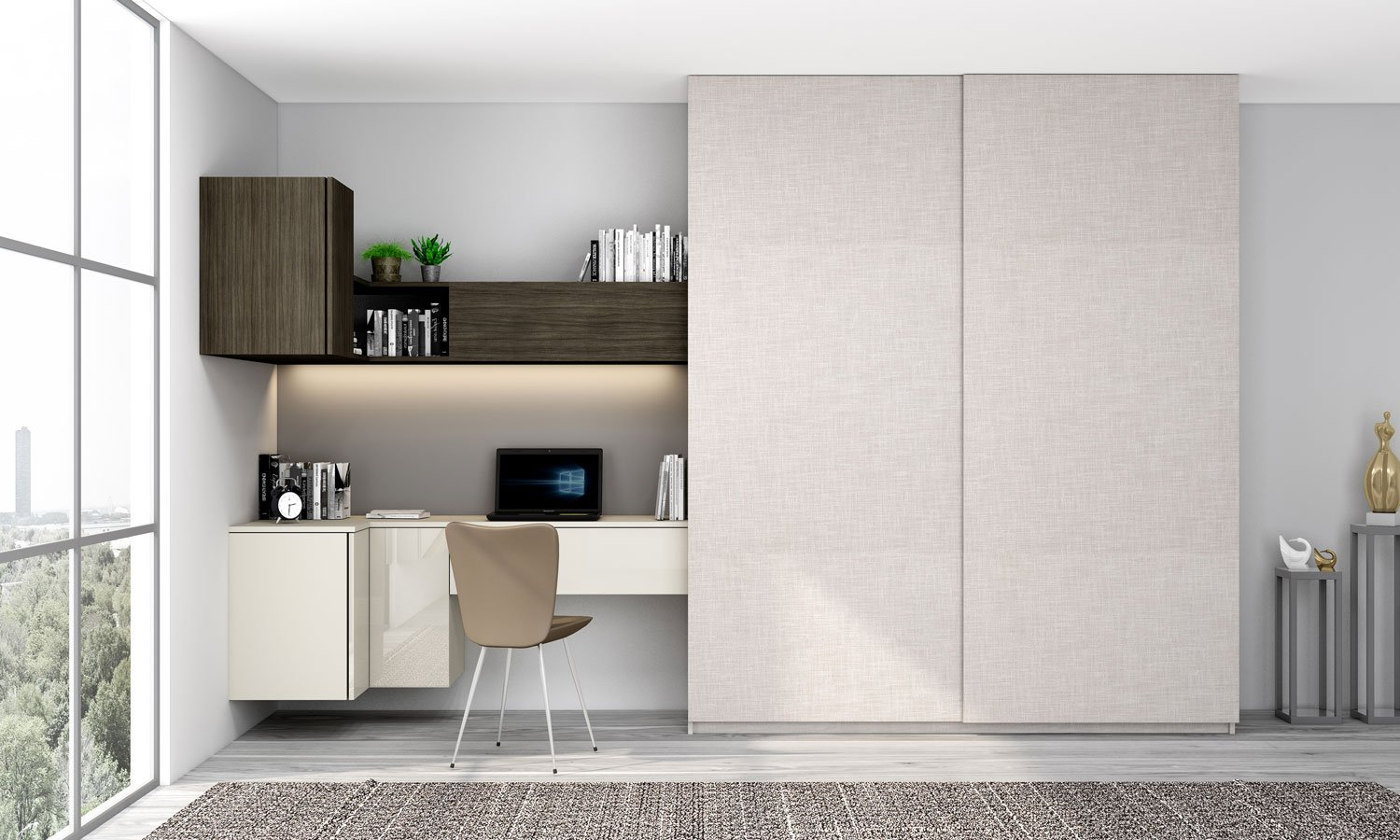 Floating Bookshelf with Sliding Wardrobe with Study Desk in Light grey, woodgrain sable and Grey Linen finish