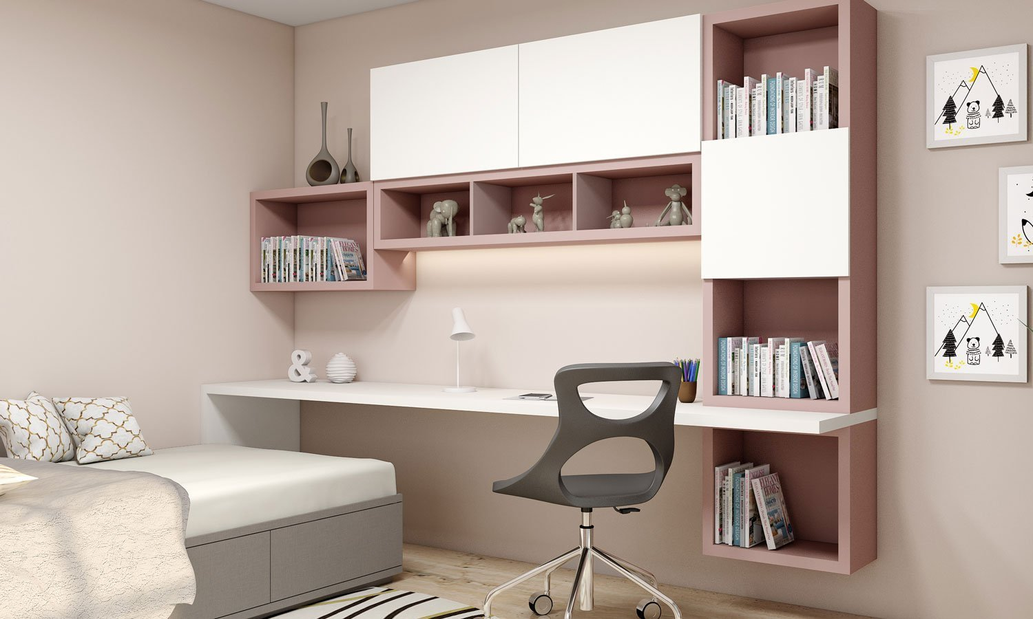 Study Office Finished in Beige and Apine White