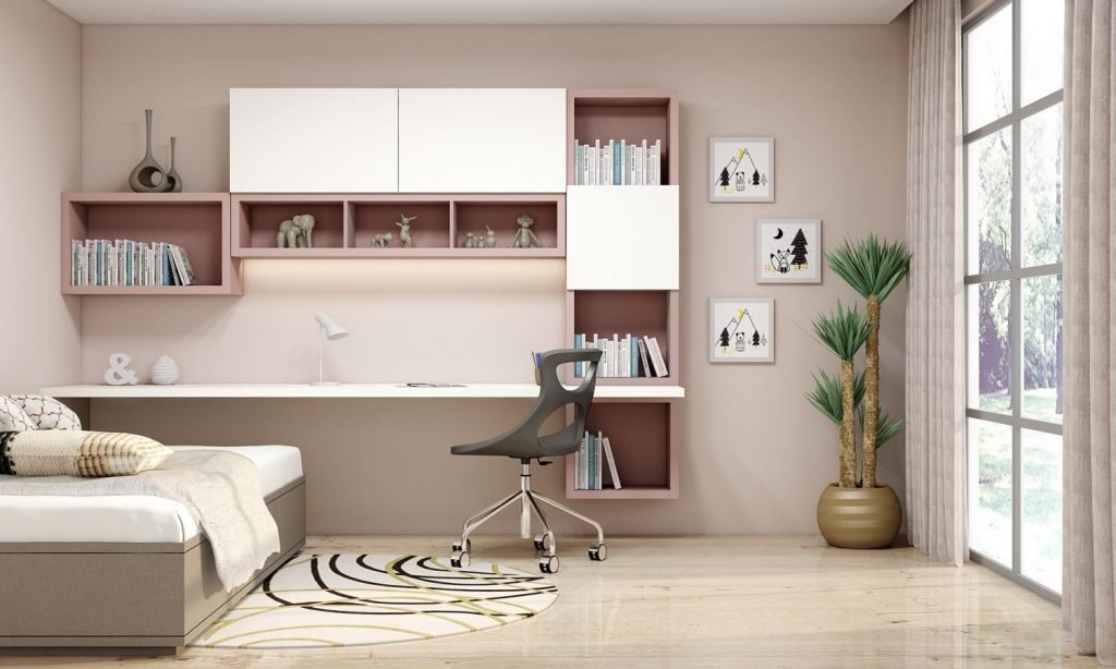 Study Office with bookshelves finished in Beige and Alpine White