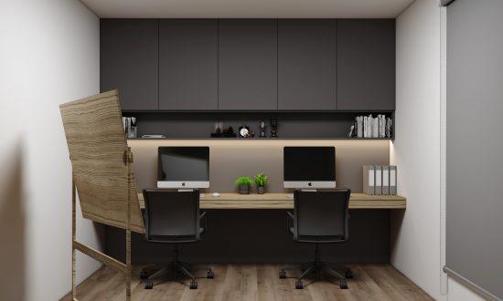 Study Office in Graphite Matt and Light Woodgrain