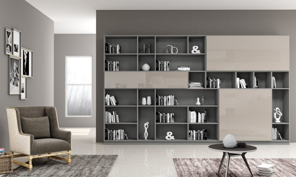 Study Office in High Gloss Finished With Stone Grey and Dust Grey