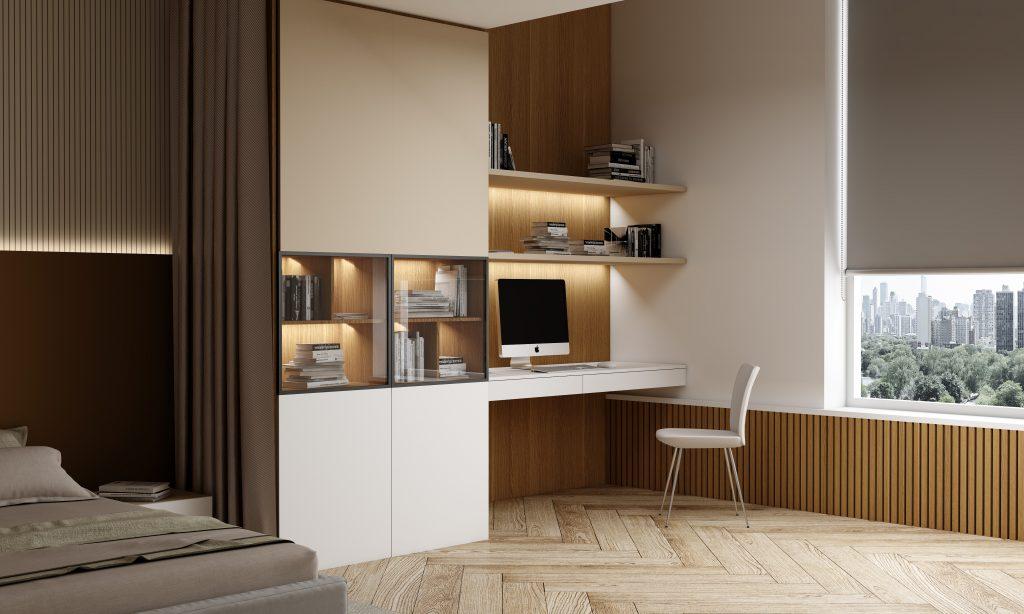 Study Office in Natural Oak Woodgrain in Natural Oak Woodgrain and White Matt finish