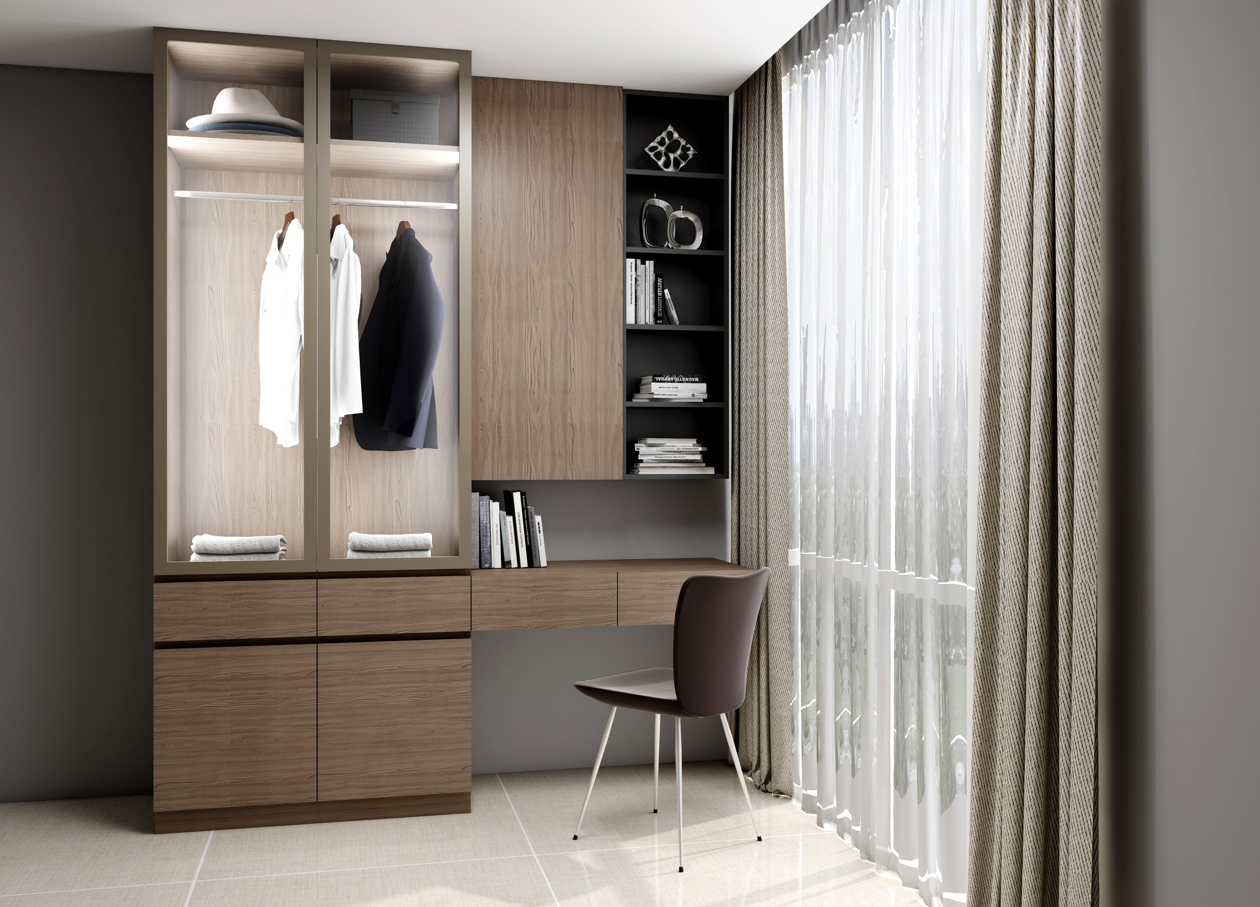 Study office finished in Dark Walnut Woodgrain, clear glass and Graphite matt