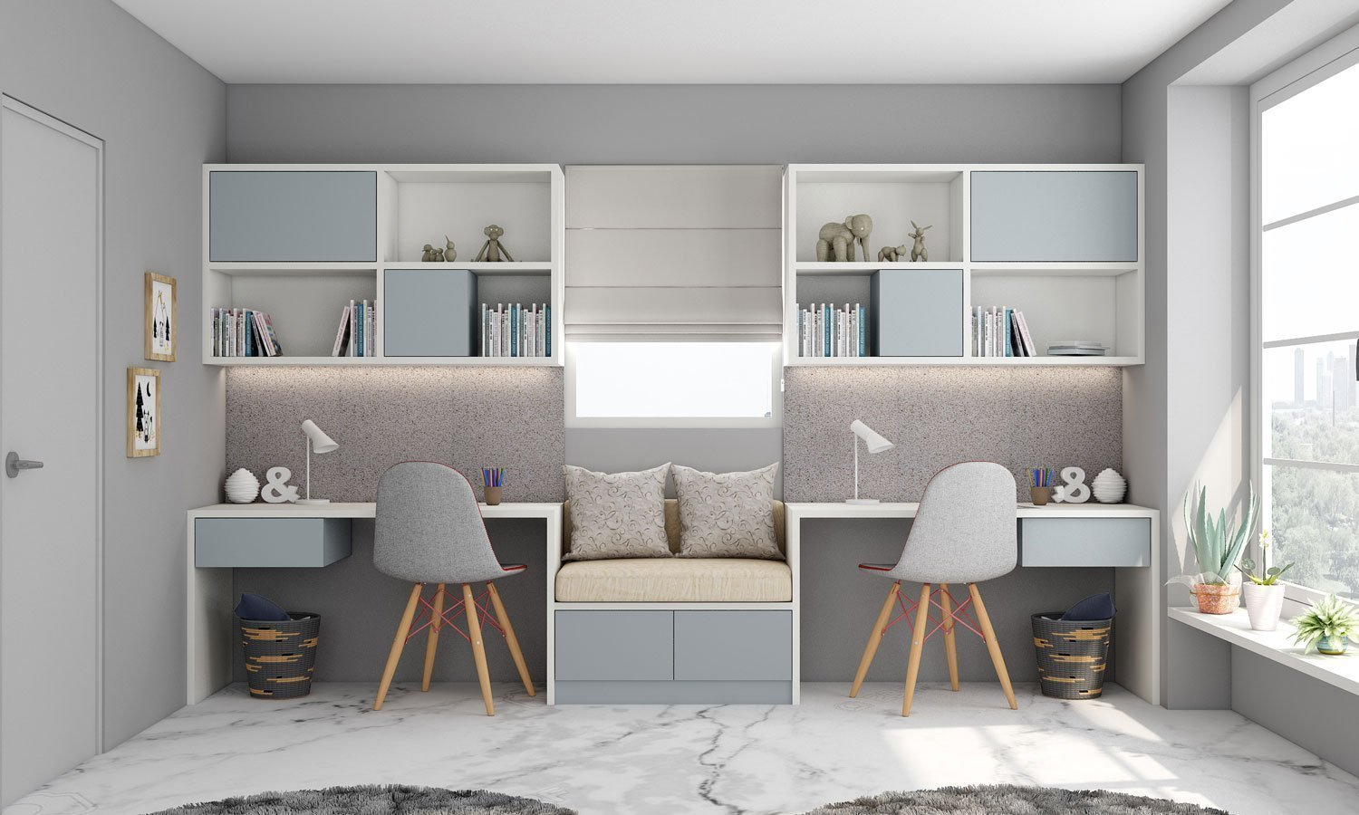 Study Office Finished in Light Grey and Alpine White With a Cushion Seating in Centre