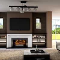 Tv Unit Storage in Open Units in Combination of Anthracite Mountain Larch and Metallic Inox