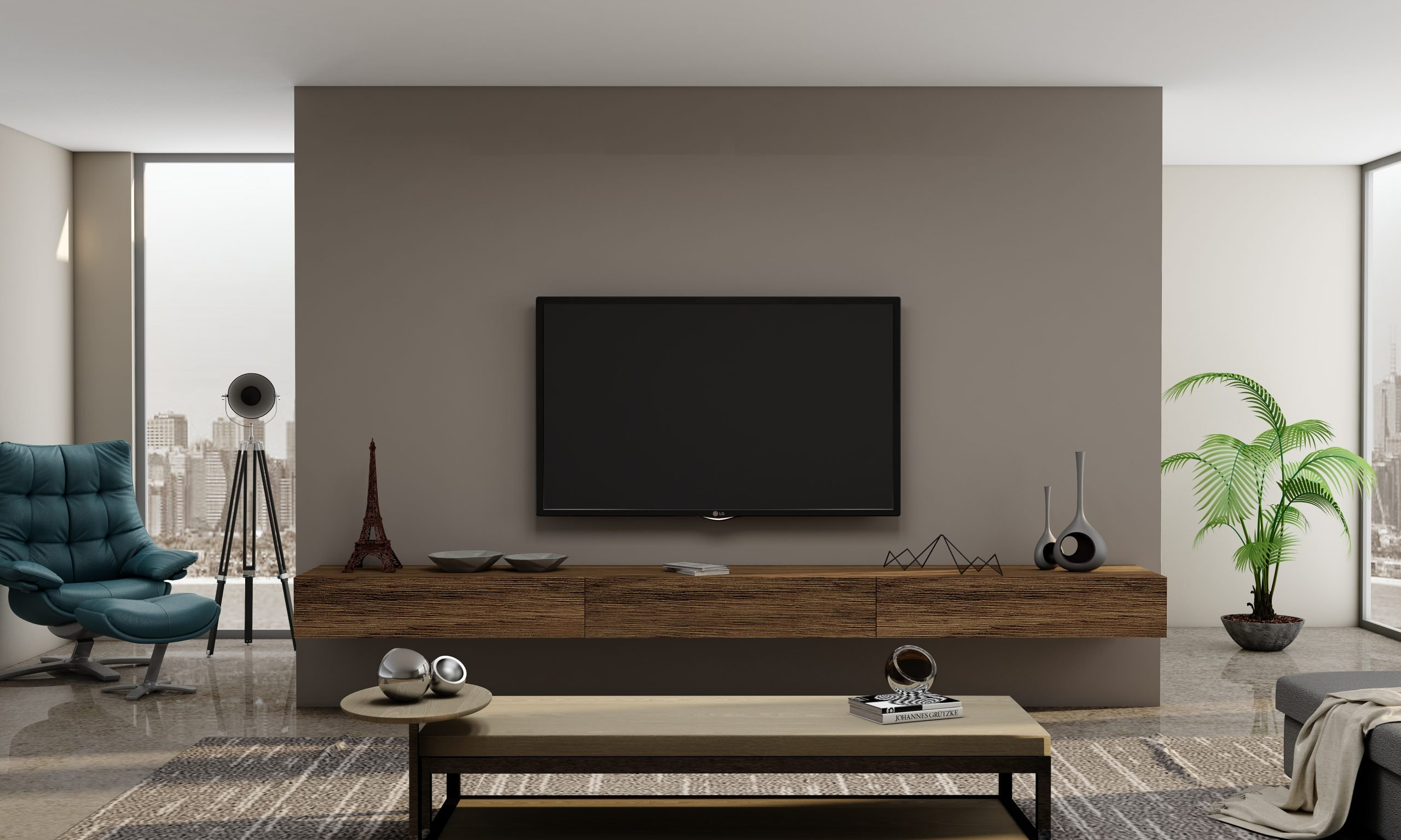 TV unit Storage with Drawers in Natural Carini Walnut