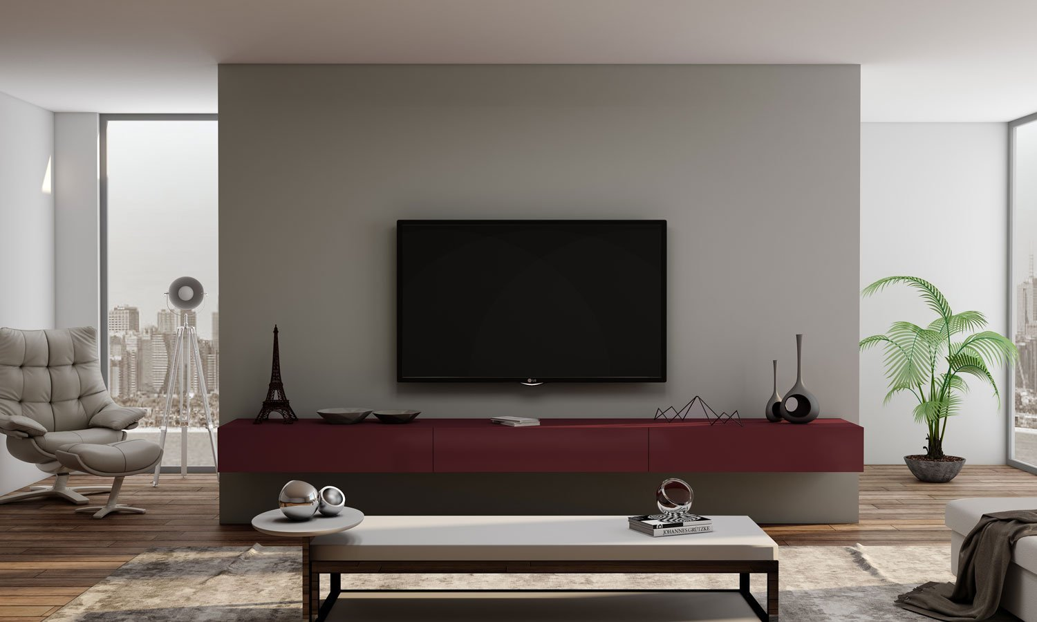 TV unit with Storage Drawers in Red Velvet finish