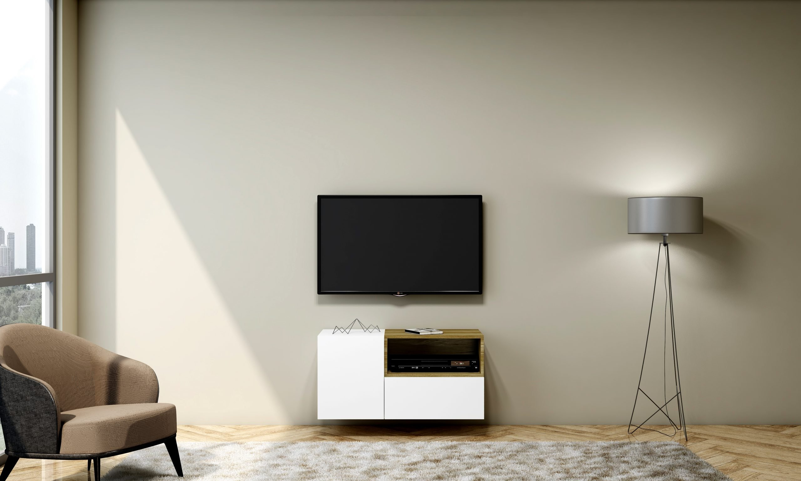 Tv Unit With Storage Drawers and Open Shelf in Natural Carini Walnut and Alpine White Finish