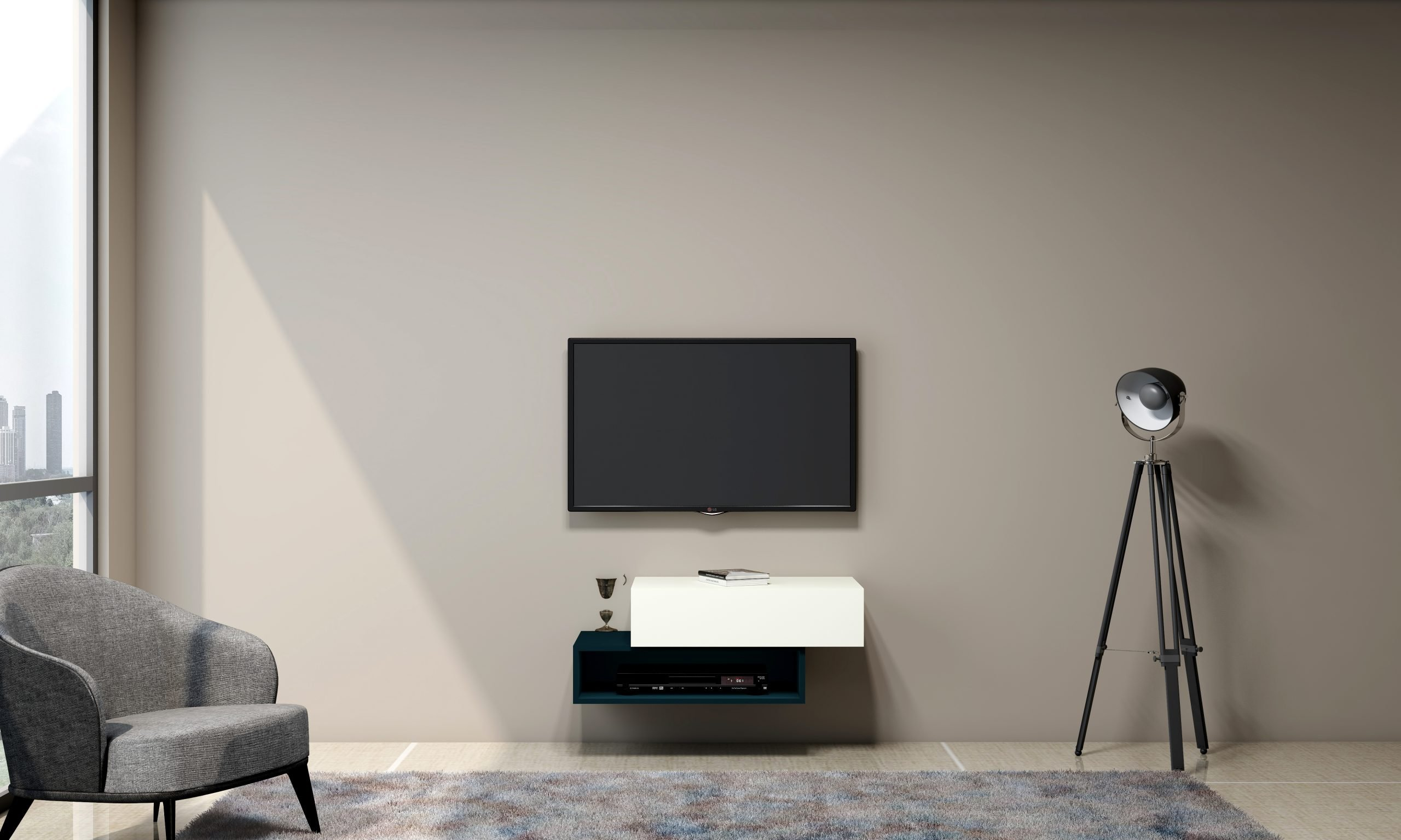 White TV unit with Storage in Base unit Drawer in Premium white and Open Box in Moonlight Blue