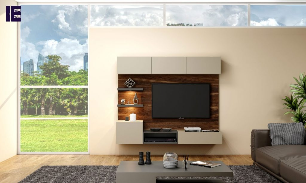 Tv Unit With Storage in Drawer, Flap Up in Cashmere Grey, Shelf & Open Unit in Dust Grey and Back Panel in Natural Dijon Walnut