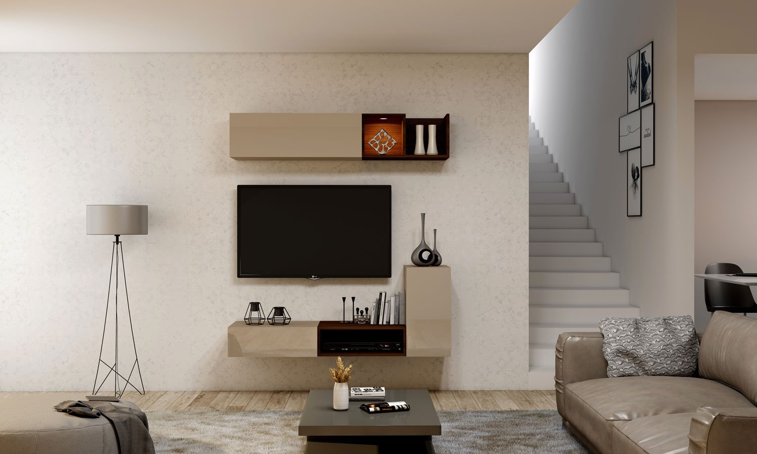 Grey TV unit with Storage in Drawer, Flap up in Cashmere Grey finish, and open units in Lincoln Walnut