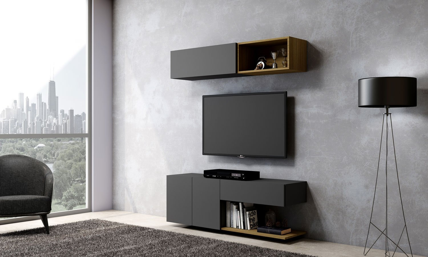 Matt TV unit with Storage in Drawer, Flap up in Dust Grey finish, Shelf and Open Unit in Natural Lancaster Oak