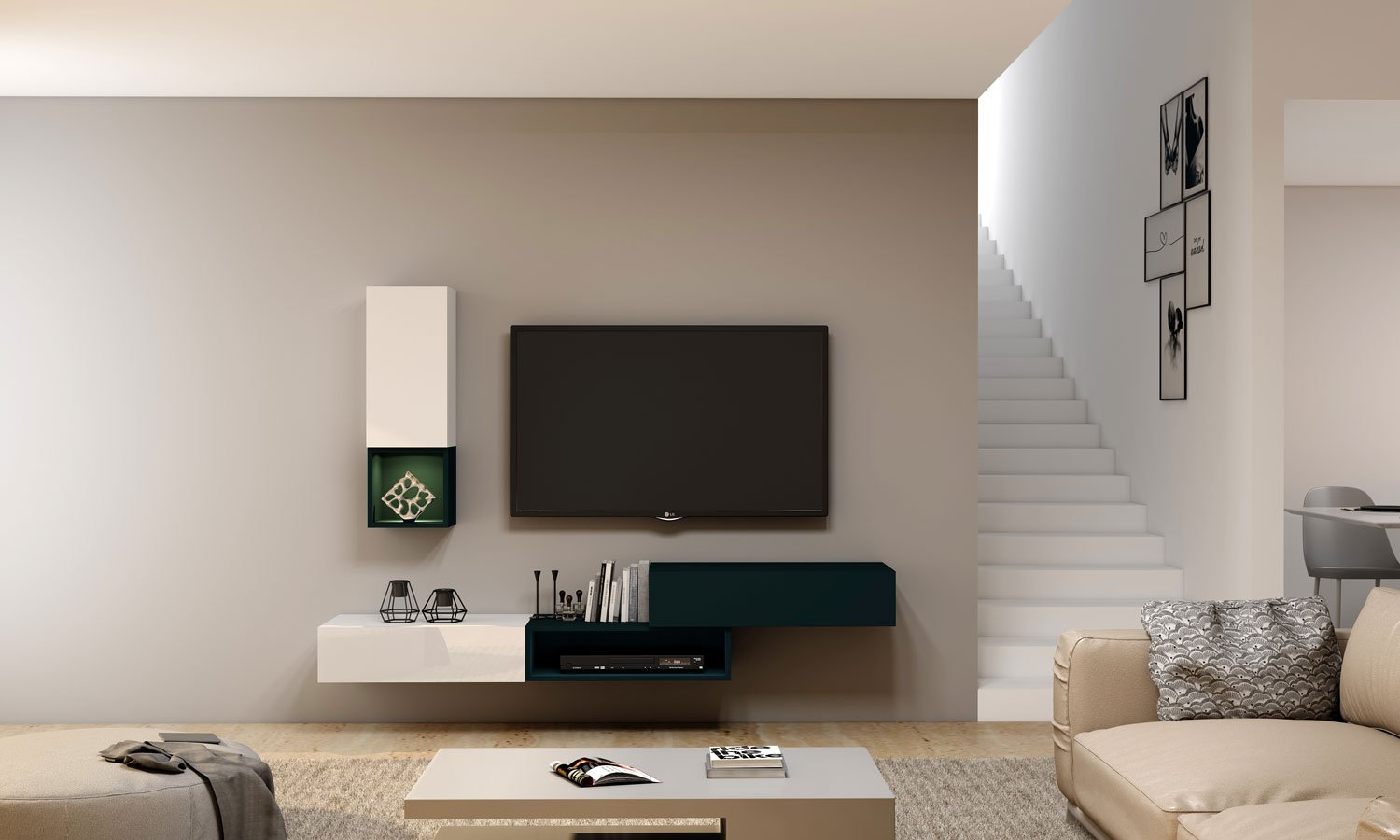 TV unit with Storage in Drawers, Open Shelves and Flap up in combination of White and Green